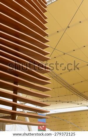 MILAN, ITALY - May 7: foreshortening of wooden shield outside of Azerbaijan pavilion  , shot  on may 7 2015  Milan, Italy  - stock photo
