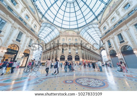 Milan, Italy - May 26, 2014 : Galleria Vittorio Emanuele II in Milan. It's one of the world's oldest shopping malls, designed and built by Giuseppe Mengoni between 1865 and 1877.