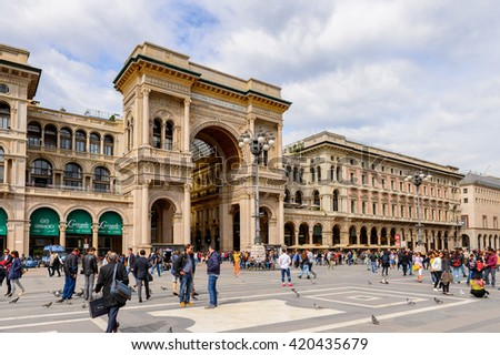 MILAN, ITALY - MAY 2, 2016: Galleria Vittorio Emanuele II, one of the world's oldest shopping malls. The gallery is built between 1865 and 1877 by Giuseppe Mengoni
