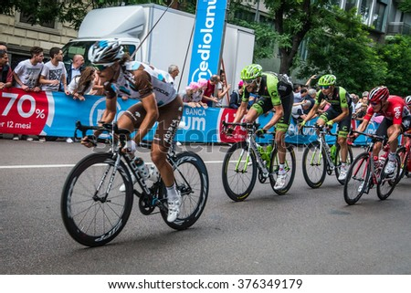 Milan, Italy 31 May  2015; Group of Professional Cyclists in Milan accelerate and prepare the final sprint that concludes the Giro DItalia2015