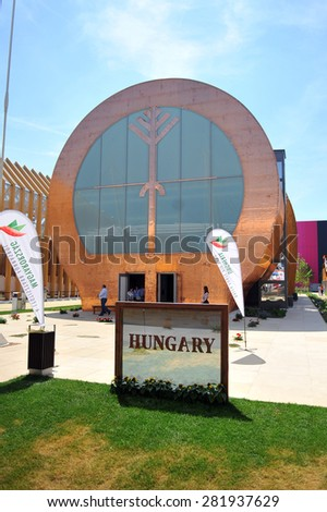 MILAN, ITALY - May 11:  Hungary pavilion at Expo, universal exposition on the theme of food on  May 11, 2015 in Milan, Italy.  - stock photo