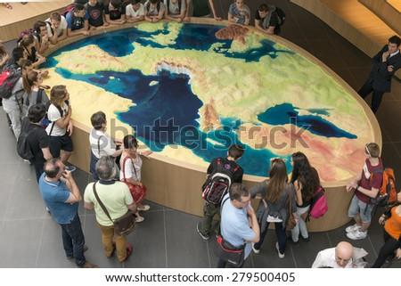 MILAN, ITALY - May 7: large scale model of Europe with Italy completely erased in exhibition at Italy Pavilion, shot  on may 7 2015  Milan, Italy  - stock photo