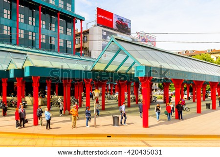 MILAN, ITALY - May 2, 2014: Malpensa express station, Milan, the capital of Lombardy,  Italy. Milan was the host of the 2015 Universal Exposition