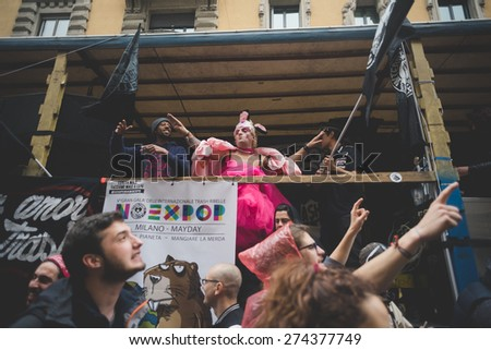 MILAN, ITALY - MAY 1: manifestation no expo held in Milan May 1, 2015. People took streets to protest against expo 2015 in Milan began that day in Rho Pero district