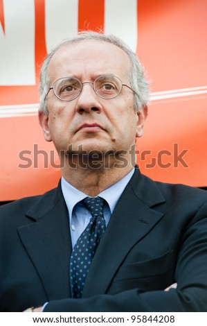 MILAN, ITALY - MAY 11: Portrait of Walter Veltroni taken in Milan on May 11, 2011. He is an italian writer, journalist and politician, former leader of the Democratic Party and Mayor of Rome. - stock photo