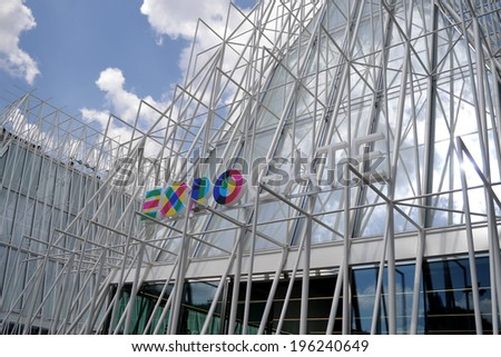 MILAN, ITALY - MAY 13: sign Expo Gate 2015, on May 13, 2014 in Milan, Italy  - stock photo