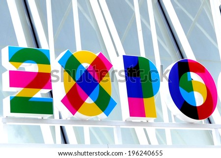 MILAN, ITALY - MAY 13: sign Expo 2015, on May 13, 2014 in Milan, Italy  - stock photo