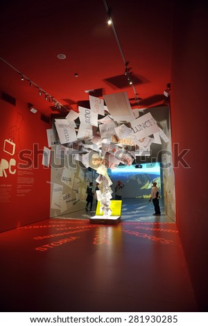 MILAN, ITALY - May 11:  Spain pavilion at Expo, universal exposition on the theme of food on  May 11, 2015 in Milan, Italy.  - stock photo