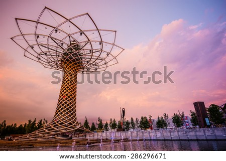 MILAN, ITALY - MAY 27: tree of life at Expo, universal exposition on the theme of food on MAY 27, 2015 in Milan - stock photo
