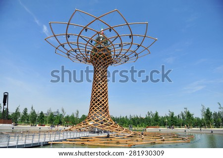 MILAN, ITALY - May 11: Tree of life, symbol of Milan Expo 2015, universal exposition on the theme of food on  May 11, 2015 in Milan, Italy.  - stock photo