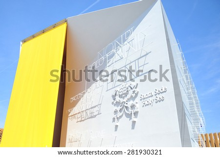 MILAN, ITALY - May 11: Vatican  pavilion at Expo, universal exposition on the theme of food on  May 11, 2015 in Milan, Italy.  - stock photo