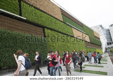 MILAN, ITALY-MAY 04, 2015: vertical green plantations on the Israel pavillion at EXPO 2015, food is the main topic of this italian edition, in Milan. - stock photo