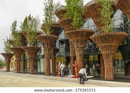 MILAN, ITALY - May 7: view of  wicker columns forming the facade of  Vietnam pavilion , shot  on may 7 2015  Milan, Italy  - stock photo