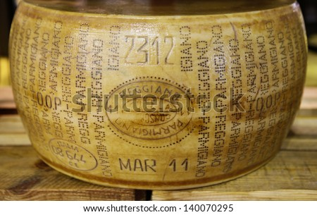 MILAN, ITALY - MAY 22:wheel of parmigiano reggiano cheese in Tuttofood, Milano World Food Exhibition on May 22, 2013 in Milan, Italy - stock photo