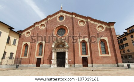 MILAN, ITALY: Monastery of Santa Maria delle Grazie where the Last Supper Painting is located, in Milan, Italy. - stock photo