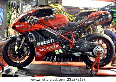 MILAN, ITALY - NOV 8: Ducati  at EICMA, 72 th International Motorcycle Exhibition November 8, 2014 in Milan, Italy.  - stock photo