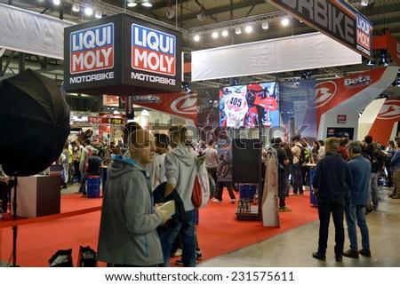 MILAN, ITALY - NOV 8: EICMA, 72 th International Motorcycle Exhibition November 8, 2014 in Milan, Italy.  - stock photo