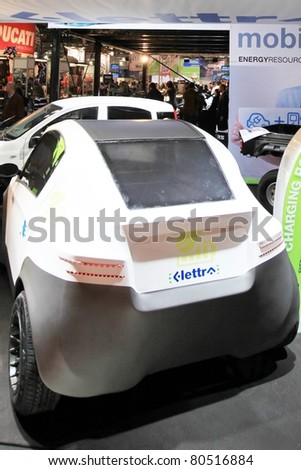 MILAN, ITALY - NOV. 03: Green energy car in exhibition at EICMA, 68th International Motorcycle Exhibition November 03, 2010 in Milan, Italy.