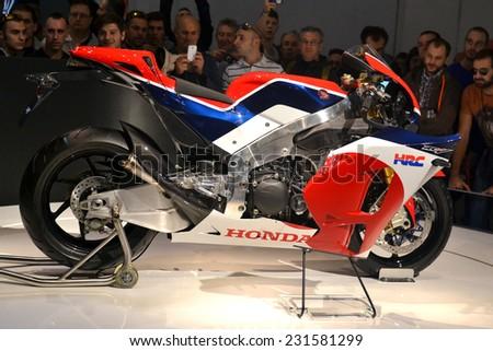MILAN, ITALY - NOV 8: Honda rcv  at EICMA, 72 th International Motorcycle Exhibition November 8, 2014 in Milan, Italy. - stock photo