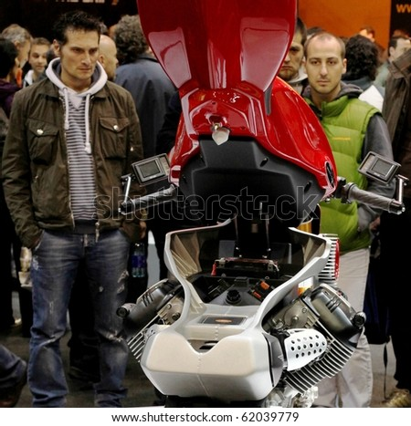 MILAN, ITALY - NOV. 11: Looking into the motorcycle engine at EICMA, 67th International Motorcycle Exhibition November 11, 2009 in Milan, Italy.