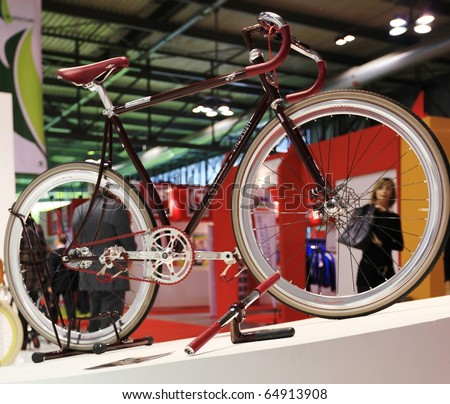 MILAN, ITALY - NOV. 03: Montante italian bicycle details at EICMA, 68th International Motorcycle Exhibition November 03, 2010 in Milan, Italy.