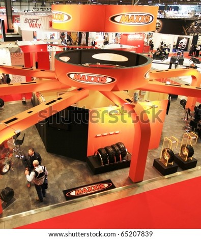 MILAN, ITALY - NOV. 03: Panoramic view of EICMA, 68th International Motorcycle Exhibition November 03, 2010 in Milan, Italy.