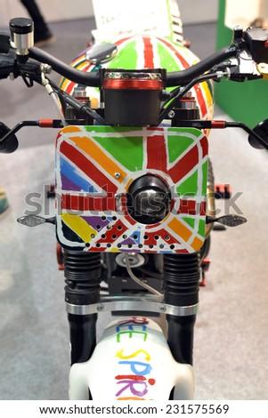 MILAN, ITALY - NOV 8:  Triumph Boneville at EICMA, 72 th International Motorcycle Exhibition November 8, 2014 in Milan, Italy.  - stock photo