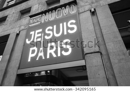 MILAN, ITALY - NOVEMBER 21: A big led display shows the phrase Je suis Paris in solidarity with the victims of the terror attack in Paris on NOVEMBER 21, 2015 in Milan.