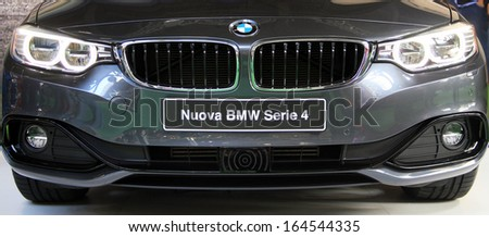 MILAN, ITALY - NOVEMBER 7: Design details of brand new BMW 4 series in exhibition at EICMA, 71st International Motorcycle Exhibition on November 7, 2013 in Milan, Italy.
