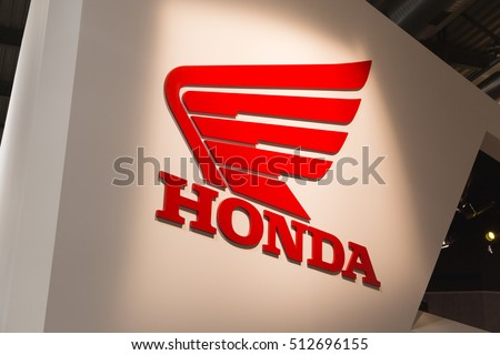 MILAN, ITALY - NOVEMBER 8: Detail of Honda stand at EICMA, international motorcycle exhibition on NOVEMBER 8, 2016 in Milan.