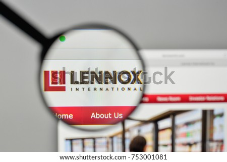 lennox logo. milan, italy - november 1, 2017: lennox international logo on the website homepage
