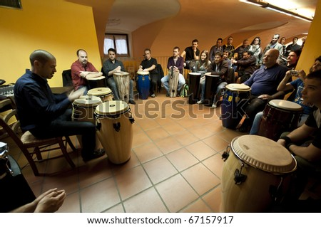 MILAN, ITALY - NOVEMBER 8: percussion concerts and seminars held - November 8, 2010 in Settimo Milanese, Milan. The initiative called 'Percuotiamo' called artists from all over Italy. - stock photo