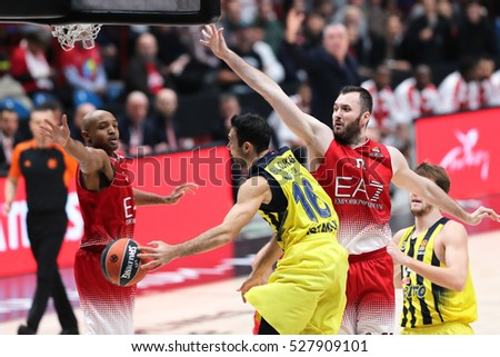 Milan, Italy, november 2016: Sloukas Kostas assist during the match between EA7 Emporio Armani Milan vs Fenerbahce Istanbul - EuroLeague 2016/2017,  Milan Mediolanum Forum on 24/11/2016