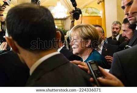 MILAN, ITALY - Oct 17, 2014: German Chancellor Angela Merkel after the meeting on the ASEM summit of European and Asian leaders in Milan - stock photo