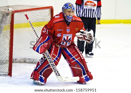 MILAN, ITALY - OCT 12: Goalie Paul Dainton of HC Milano during a game at Agora Arena on October 12, 2013 against Hc Valpellice.    - stock photo