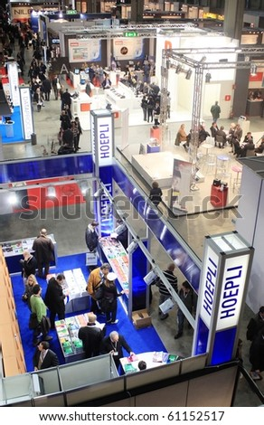 MILAN, ITALY - OCT. 21: Panoramic view of people visiting stands at SMAU, national fair of business intelligence and information technology October 21, 2009 in Milan, Italy.