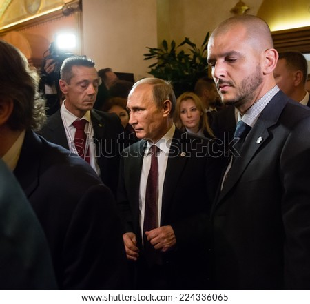 MILAN, ITALY - Oct 17, 2014: Russian President Vladimir Putin during a meeting on the ASEM summit of European and Asian leaders in Milan