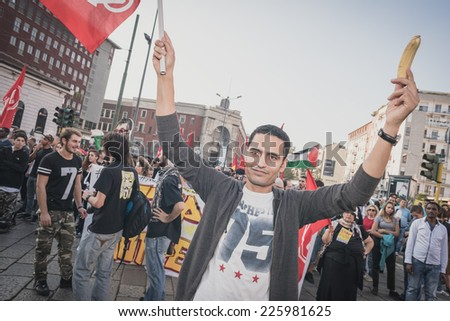 MILAN, ITALY - OCTOBER 18: A manifestation held in Milan october 18, 2014. People took to the streets to protest against racism, war and against Lega Nord, an Italian right wing political movement. - stock photo