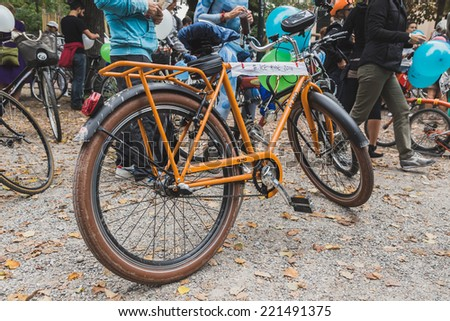 MILAN, ITALY - OCTOBER 4: Bicycle at the Ice Ride, global bike event organized by Greenpeace to demand protection for the Arctic on OCTOBER 4, 2014 in Milan. - stock photo