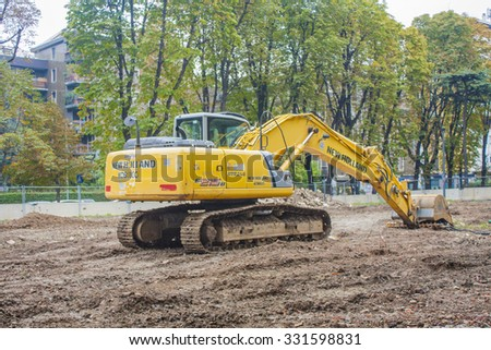 MILAN, ITALY-OCTOBER 18, 2015: Construction machinery on building site of new subway line in Milan.