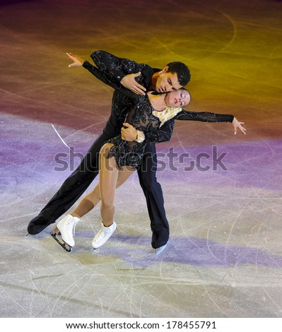 MILAN, ITALY-OCTOBER 11, 2008: Couple competing on the Figure Ice Christmas Gala at the Forum arena in Milan.
