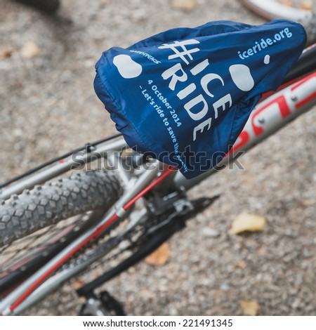 MILAN, ITALY - OCTOBER 4: Detail of bicycle saddle at Ice Ride, global bike event organized by Greenpeace to demand protection for the Arctic on OCTOBER 4, 2014 in Milan. - stock photo