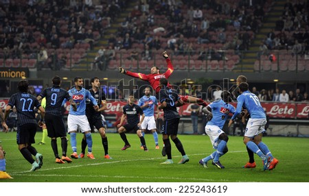 MILAN, ITALY-OCTOBER 19,2014: FC Internazionale goalkeeper Samir Handanovic in action during the Italian serie A night soccer match FC Internazionale vs  Napoli at the san siro stadium, in Milan. - stock photo