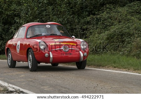 MILAN / ITALY - OCTOBER 01, 2016: Fiat Abarth 750 GT Zagato, built in 1958, during a meeting of vintage cars
