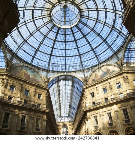 Milan, Italy - October 20, 2014: Glass ceiling in Vittorio Emanuele gallery of Milan