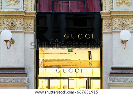 Milan, Italy - October 24, 2016: Gucci Sign of street shop window in Milan.