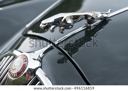 Milan, Italy   October 01, 2016: Hood Ornament (Jaguar In The Jump