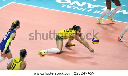 MILAN, ITALY-OCTOBER 10, 2014: indoor female volleyball match Brazil vs Dominican Republic, during the Volleyball World Cup, in Milan. - stock photo