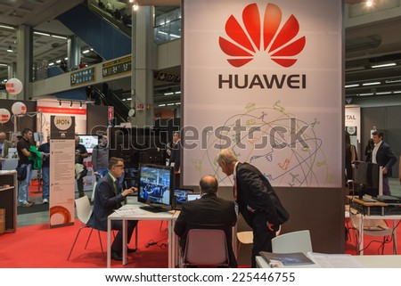 MILAN, ITALY - OCTOBER 22: People visit Smau, international exhibition of information communications technology on OCTOBER 22, 2014 in Milan. - stock photo