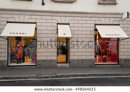 Milan, Italy - October 9, 2016: Shop window and entrance of a Ch